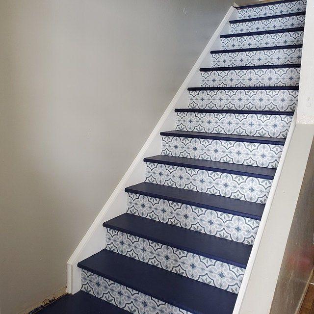 Naples Tile Wall Stair Floor Self Adhesive Vinyl Etsy In 2020 Flooring For Stairs Wall Tiles Bathroom Vinyl