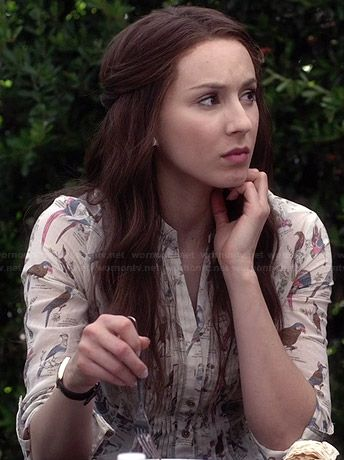 Spencer's bird printed top on Pretty Little Liars.  Outfit Details: http://wornontv.net/34208/ #PLL