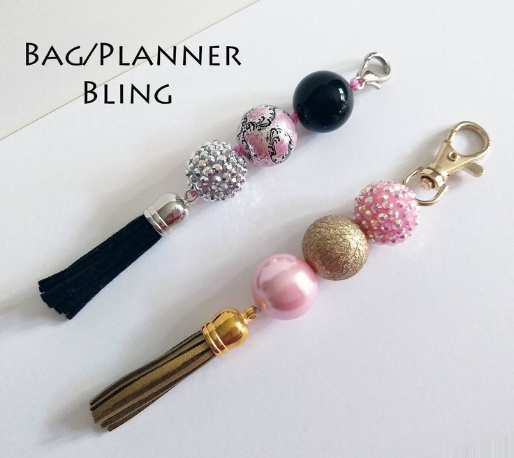 Planner Charm Accessory * Beaded Purse Charm * Planner Tassel  * Journal Charm * Key Chain * Black * Gold * Pink * White * Chevron * by ZarasBabyBoutique on Etsy