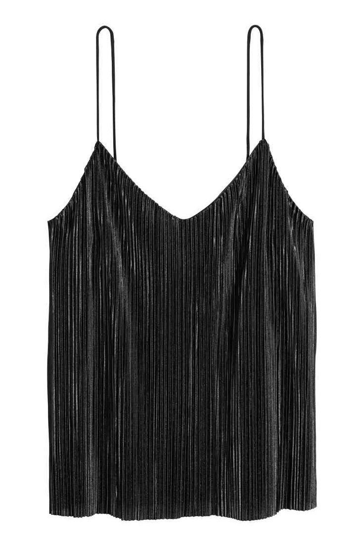 Plisowany top na ramiączkach - Czarny - ONA | H&M PL