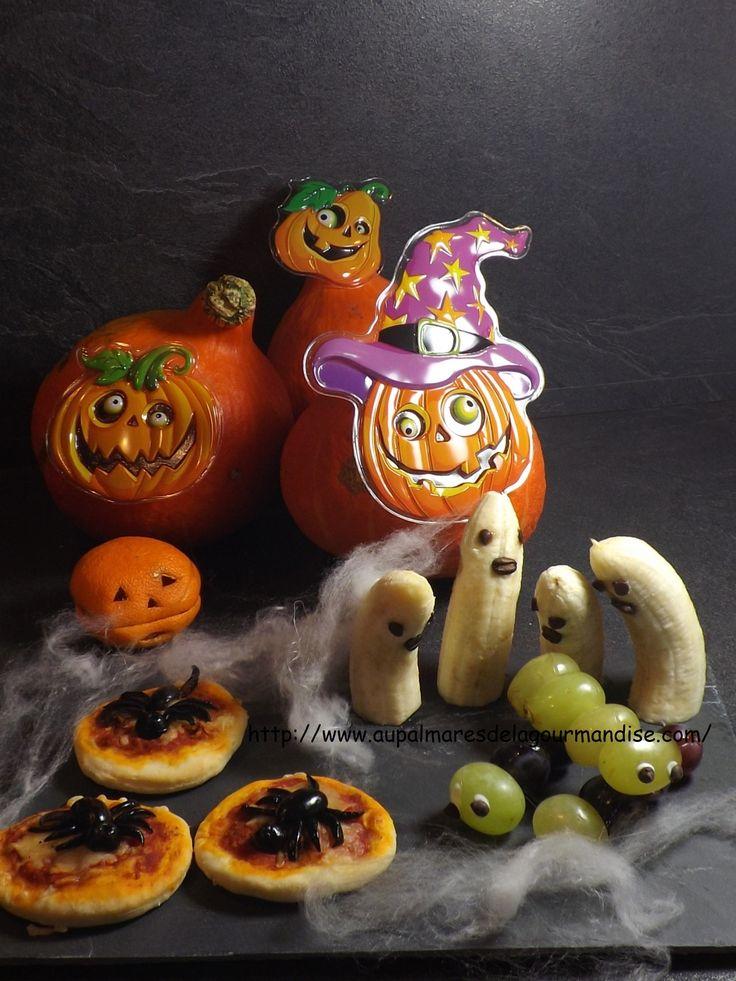 Attention âmes sensibles passez votre chemin! Araignées,fantômes,doigts de sorcières ensanglantés, chenilles malfaisantes seront votre festin pour ce diner d'Halloween, horribles non! Permettez moi de vous souhaiter bon appétit!!!!! Petites pizza araignées...