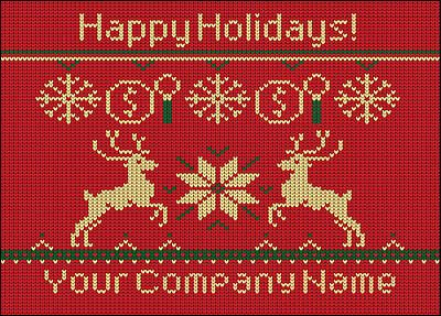 """With dollar signs and magnifying glasses, the Appraisers Reindeer Christmas Card is perfect for home appraisers looking for a unique way to reach out to clients and real estate agents during the holiday season. Measuring 5"""" x 7"""", the Appraisers Reindeer Christmas Card features a vintage-inspired design with reindeer and snowflakes against a colorful red background. Add your company name, include a personal message, choose your own colors and fonts, or create a completely customized look with…"""