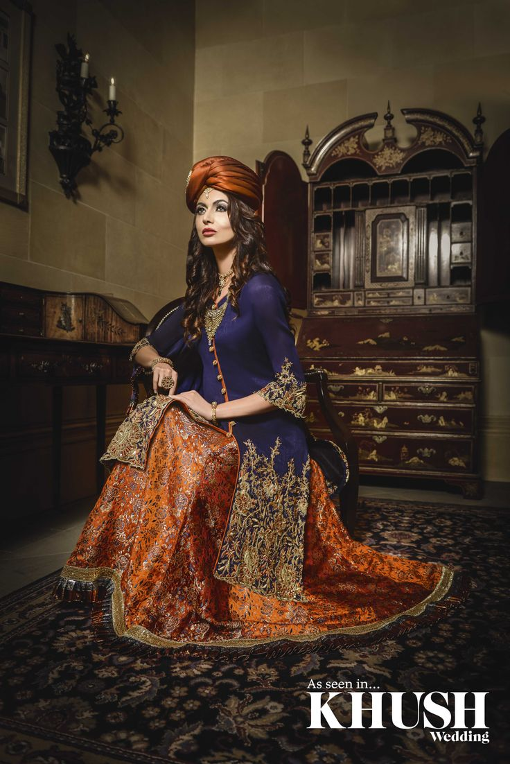 Royal blue & orange lengha with a long jacket by On Trend     T: +44(0)790 287 1888 / +44(0)758 123 1230 E: info@ontrendonline.co.uk    W: ontrendonline.co.uk  As seen in the Autumn 2013 Issue of Khush Wedding Magazine