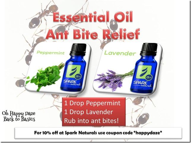 "Essential Oil Ant Bite Relief  Remember! For 10% off at Spark Naturals use coupon code ""happydaze"""