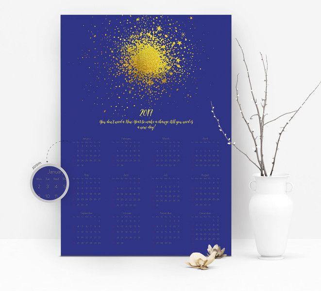 Kalendarz ścienny na PCV - 2017 NOWY ROK - SAUOdesign - Kalendarze