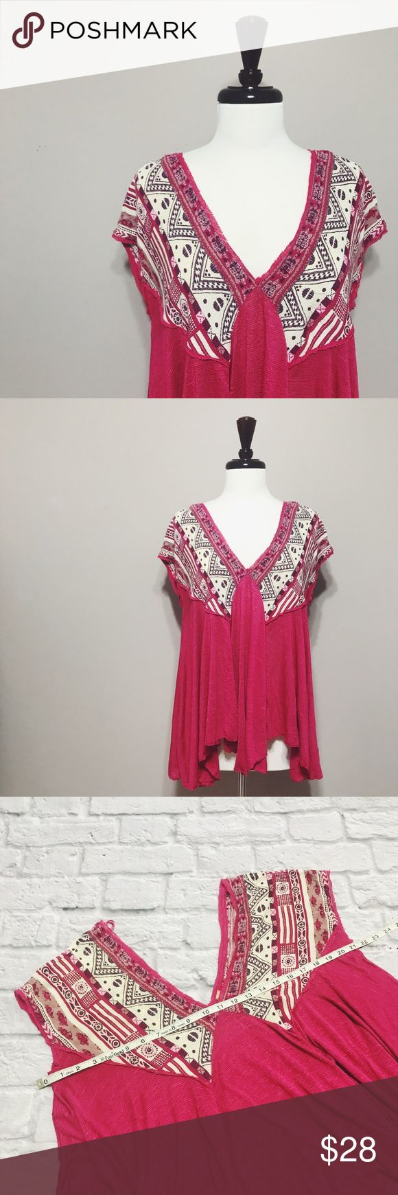 """Free People Pink We Are Golden Top Free People Pink Printed Deep V Top condition: EUC (excellent used condition) color: after doing research, this is apparently the """"red combo"""" but it definitely looks more pink than red fit: oversized/loose fit other: N/A Free People Tops"""
