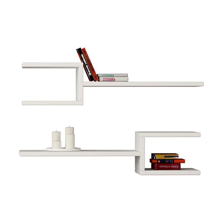 Ραφιέρα τοίχου Fork δυο τεμαχιών χρώμα λευκό 75x20x18