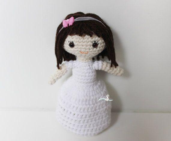 Muñeca 1ª comunión,Amigurumi crochet muñeca, Regalo comunión. Muñeca amigurumi.muñeca tejida