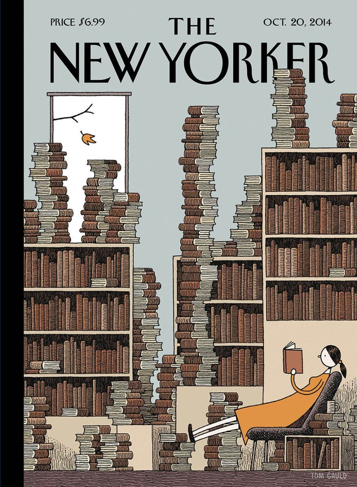 "Cover Story: Tom Gauld's ""Fall Library"" - The New Yorker  ""When Tom Gauld sent the first sketch for this week's cover, ""Fall Library,"" we discussed a variant where the woman was holding an electronic-book reader."" Ha.."