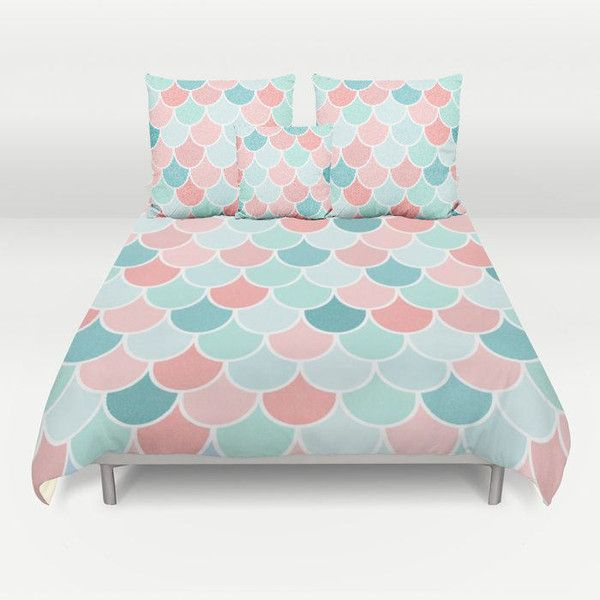 Mermaid Bedding Duvet Cover Coral Teal Aqua Mint Comforter Cover Twin... ($109) ❤ liked on Polyvore featuring home, bed & bath, bedding, duvet covers, home & living, silver, queen pillow cases, king pillow cases, zipper pillow case and teal bedding