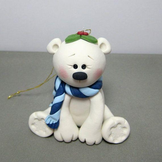Winter Polar Bear polymer clay Ornament by clayinaround on Etsy, $12.50