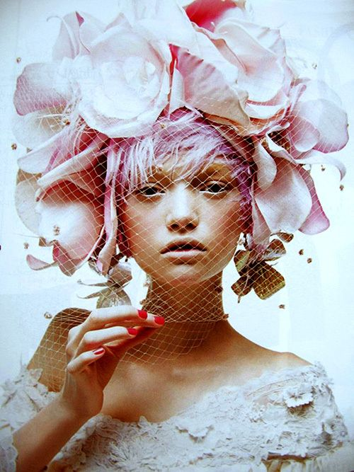 Fun idea -Headpiece and pink pixie hair.