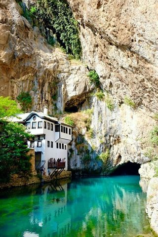 The beautiful Sufi lodge in Blagaj, Bosnia and Herzegovina. : travel