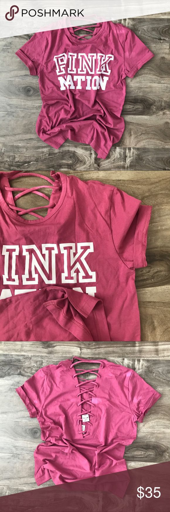 "• vs pink | lace up back tee shirt • Brand: VS PINK Size: Extra small, fits like a small Condition: NWT Description: PINK NATION, campus tee, lace up back. ➕Additional pictures upon request. ➕Pls ask ALL questions prior to purchasing. ➕Offers via offer button, only pls. ➖No trades, no holds, no ""lowest?"" PINK Victoria's Secret Tops Tees - Short Sleeve"