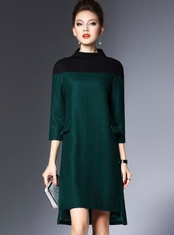 Brief Patchwork Wool Asymmetric Shift Dress