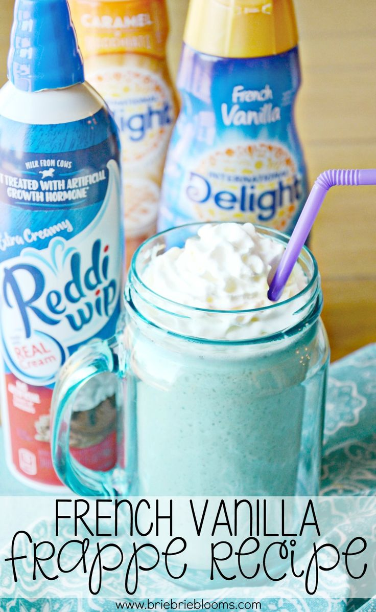 This easy french vanilla frappe recipe is a great summer poolside coffee drink with just four ingredients including @indelight and @realreddiwip from @walmart. Make it at your next pool party! #FrappeYourWay #ad