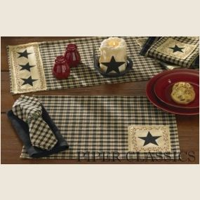 """Star Patch Collection by Park Designs conveys a traditional black, bisque and a touch of cranberry plaid updated with star and berry vine accents.    Star Patch Placemat: coordinates with our Napkins, Runners and window treatments.   Sold individually. 13"""" x 19"""". Machine wash, cool, delicate cycle, line dry. 100% cotton. Piper Classics"""