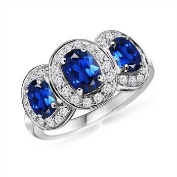 Angara Sapphire and Diamond Three Stone Ring in White Gold aa37ALL