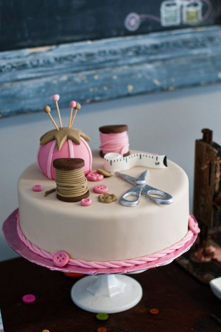 super cute cake for a little girl's sewing themed party