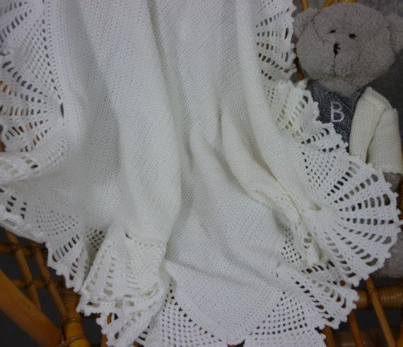 Hand made knit and crochet baby blanket by tulilala on Etsy