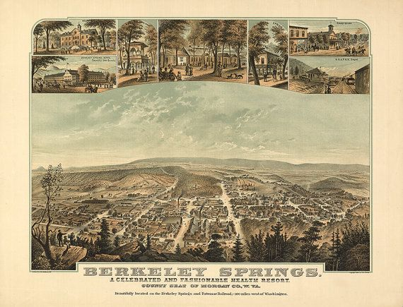 Map of Berkeley Springs, a celebrated and fashionable health resort, county seat of Morgan Co., W.Va. View from Warm Spring Mountain WV0001