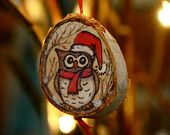 Pyrography Owl Christmas Ornament on Birch