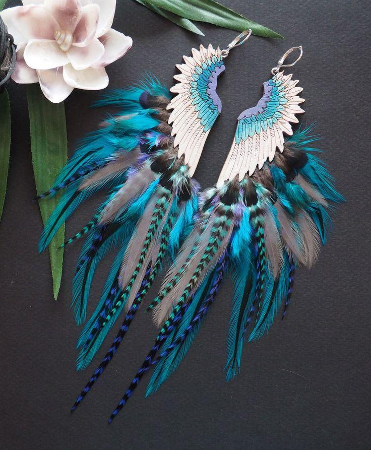 Boho Earrings With Feathers | Длинные серьги с перьями в стиле бохо