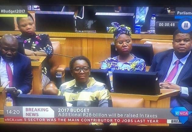 Members of Parliament from the Economic Freedom Fighters and the Democratic Alliance found common ground in the House during the Budget 2017 address by Finance Minister Pravin Gordhan.