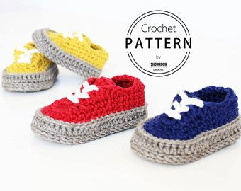 Crochet PATTERN. Dakota baby sneakers. Instant Download.