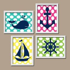 ★Nautical Boy Girl Wall Art Nursery Bathroom Bedroom Artwork Whale Navy Blue Pink Yellow Sailboat Anchor Wheel Ocean Set of 4 Prints ★Includes 4