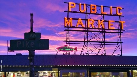 Pike Place Market at night