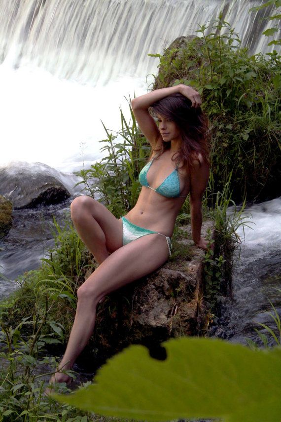 Ready to ship Azurro crochet handmade beachwear XS-S size tiny bikini knitted turquoise brazilian style bottoms