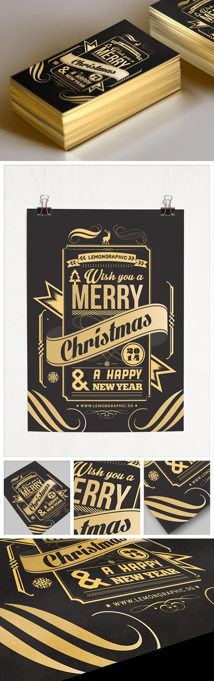 Stunning Christmas Card Gold Stamp Typography: I think this card is a pretty neat design. It was created by the talented creatives at LemonGraphic with Rayz Ong. The design is a gold-foil stamp print on thick black card with a professional gold edging.