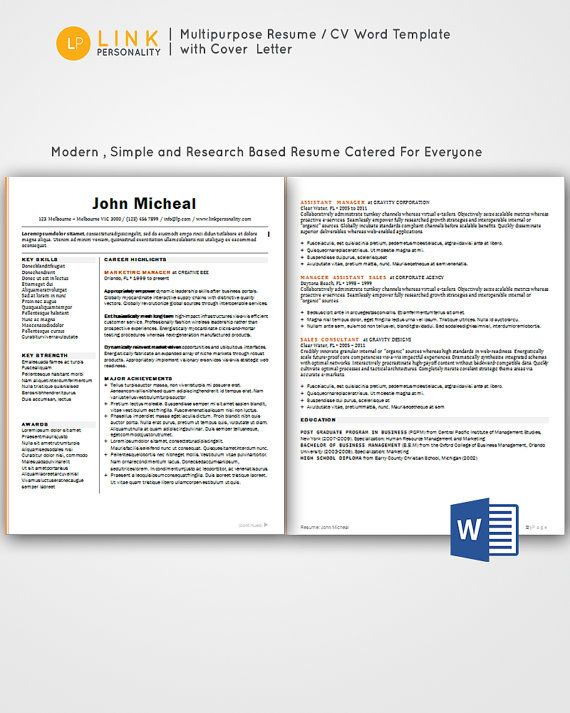 7 best Clean and Simple Resume CV Templates Word images on - resume templates for experienced professionals