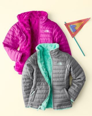 For the turquoise kid: Girls' Reversible Mossbud Swirl Jacket by The North Face