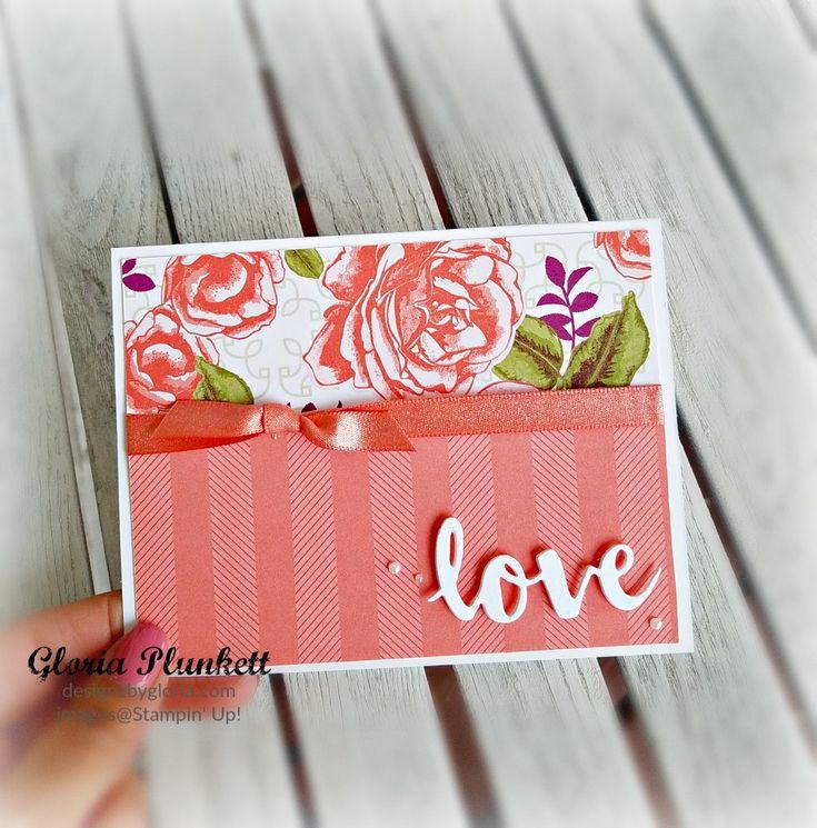 Petal Garden Valentine Card with Sunshine & Wishes Framelit dies. 2017/2018 Stampin' Up Annual Catalog