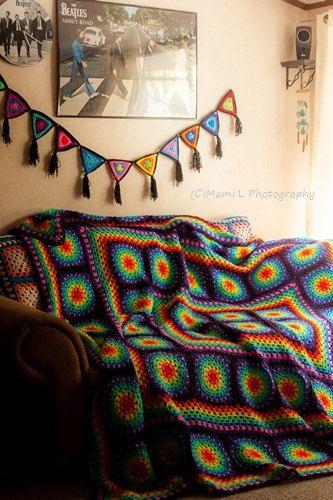 Arc en ciel, Hippy, Boho, années 70, couverture au Crochet Style Vintage.