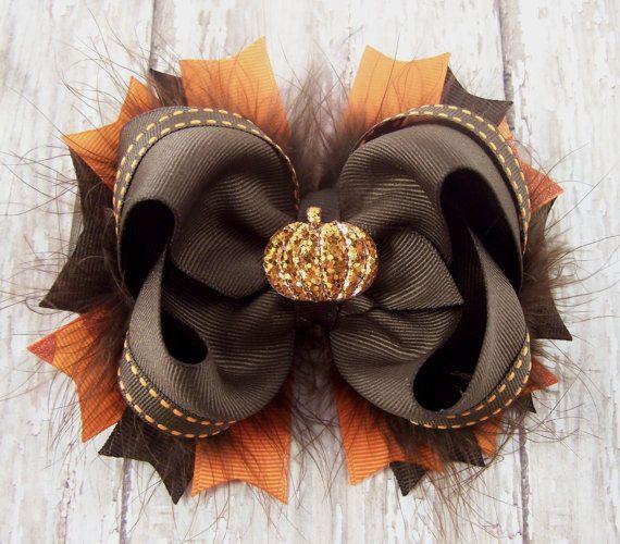 Pumpkin Bow Fall Bow Thanksgiving Bow Fluffy by darlindivas