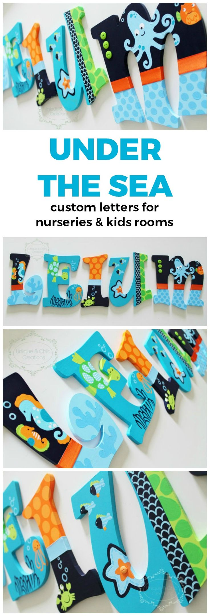 Navy Lime Green and Aqua Underwater Ocean Themed Wooden Letters for Nursery or Bedroom | Unique and Chic Creations custom kids room letters