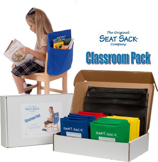 Seat Sack Classroom Pack Desk & Chair Organizers.  Perfect to hold students items when they switch classes instead of having to put their things on the floor!