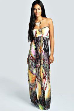 Donna Printed Bandeau Maxi Dress at boohoo.com