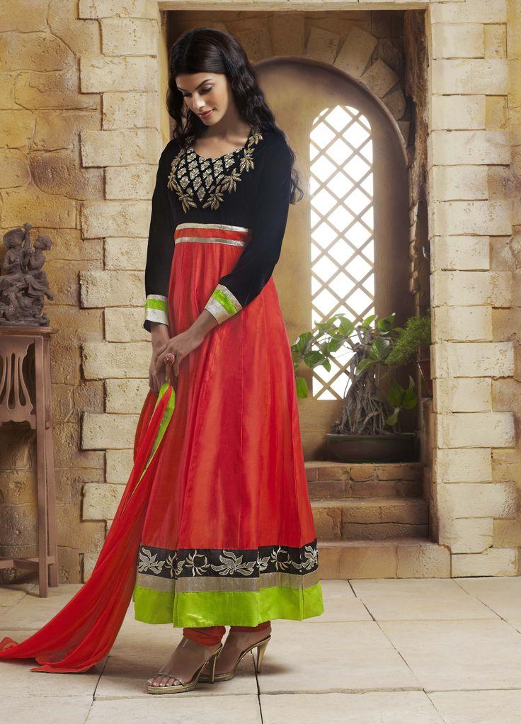 Shop Online  http://www.ethnicdukaan.com/art-silk-anarkali-with-zari-embroidery-stone-embellishment-d0302003