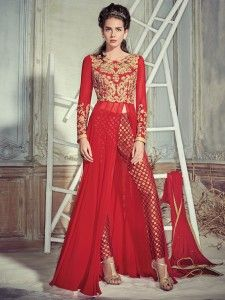 Red georgette designer salwar suit