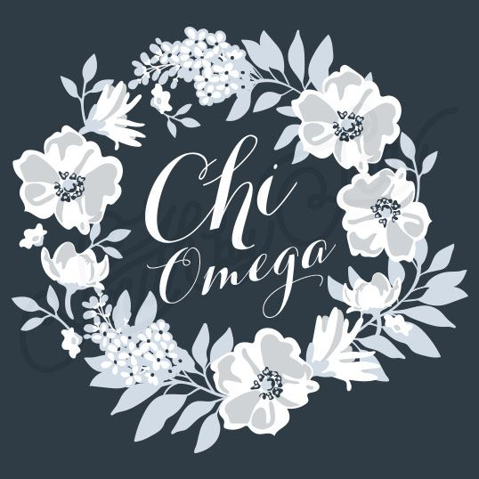 Sorority Social Chi Omega Floral Wreath South By Sea