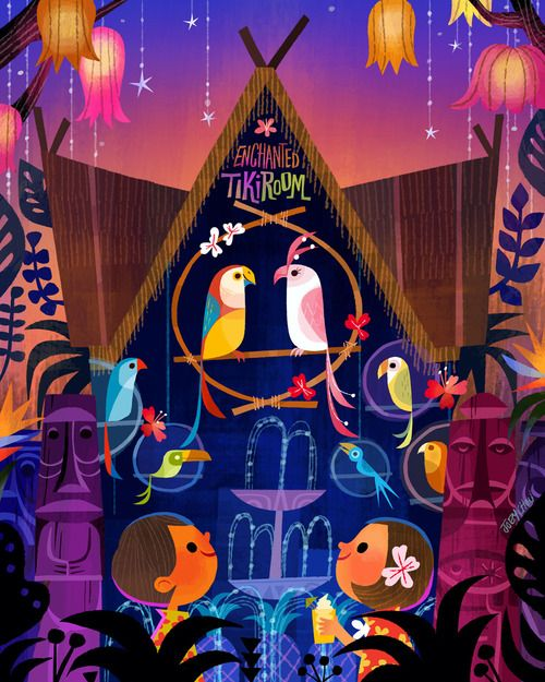 """Sing like a Tiki Bird"" (Enchanted Tiki Room) 2014 is one of the art work for the signing that I am doing at WonderGround Gallery downtown Disney this Nov. 15th from 11am-1pm. http://disneyparksmerchandise.com/events/artist-showcase-with-jasmine-beck..."