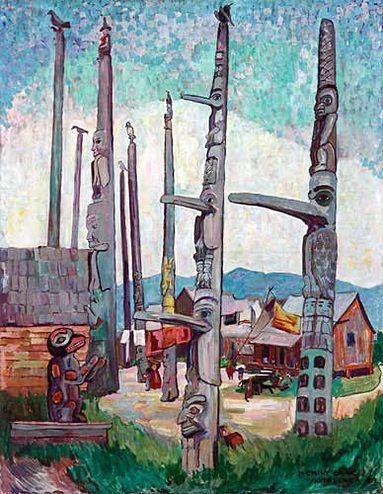 Totem Poles, Kitsegukla, 1912. Painting by Emily Carr, Vancouver Art Gallery