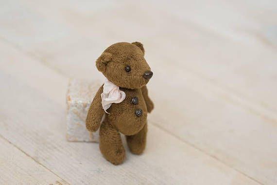 Little chocolate color miniature Teddy bear 9.5 cm height