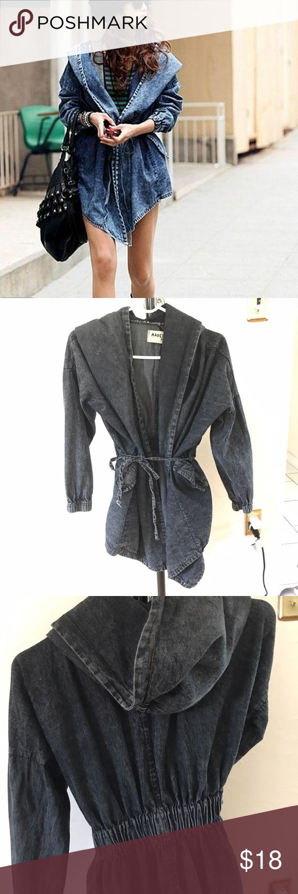 Black Denim Hooded Trench Coat Black Denim Hooded Trench Coat. BRAND NEW, GIVE ME OFFERS! Jackets & Coats Trench Coats
