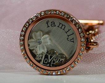 30mm Large ROSEGOLD Crystal Locket without Chain for Floating Charms like Origami Owl and South Hill Designs