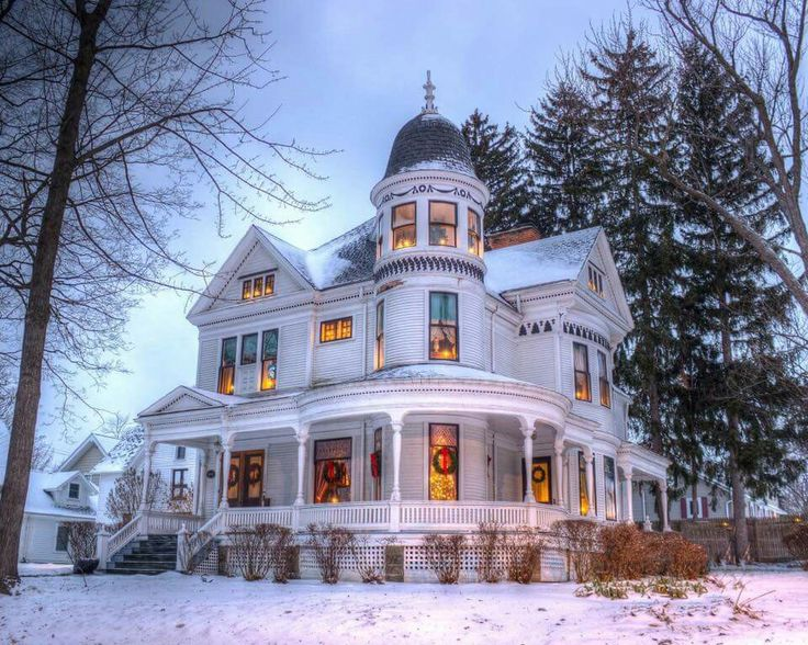 victorian at christmas time snow adds to its beauty - Victorian Home